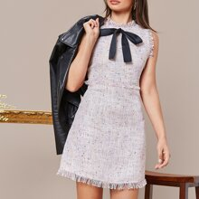 Tie Front Frayed Trim Tweed Dress