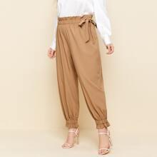 Pantalones Extra Grande Volante Liso Casual