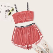 Plus Letter Strap Velvet Cami Top & Dolphin Shorts Set