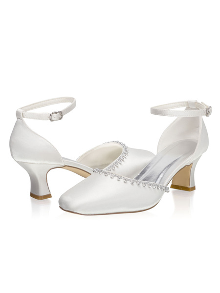 Milanoo Ankle Strap Wedding Shoes Square Toe Two Part Mid Heel Bridal Shoes