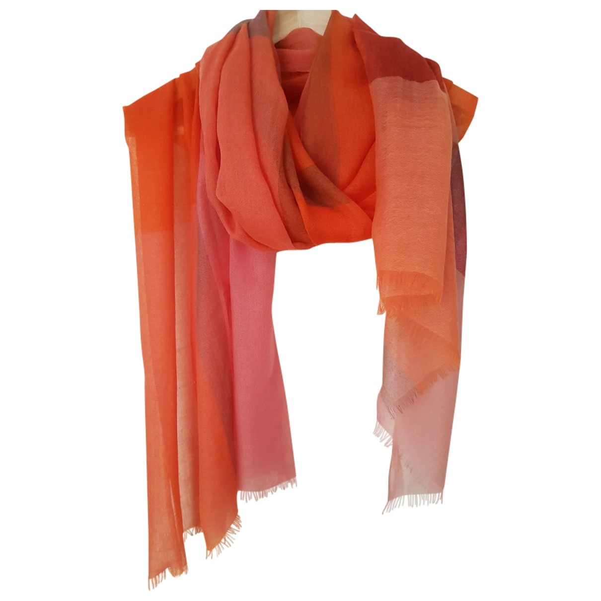 Non Signé / Unsigned \N Orange Cashmere scarf for Women \N