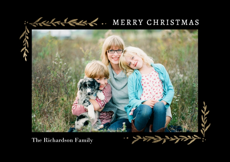 Christmas Photo Cards 5x7 Cards, Premium Cardstock 120lb with Elegant Corners, Card & Stationery -Christmas Corners Foliage