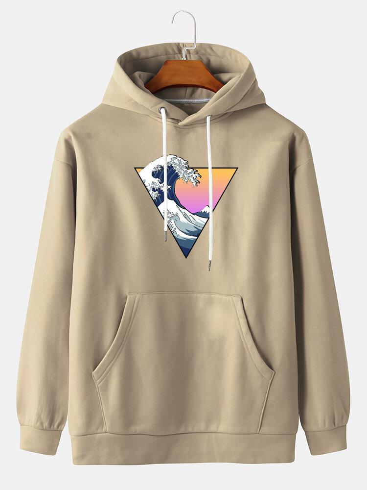Mens Ukiyo Graphic Print Pullover Hoodie With Kangaroo Pocket