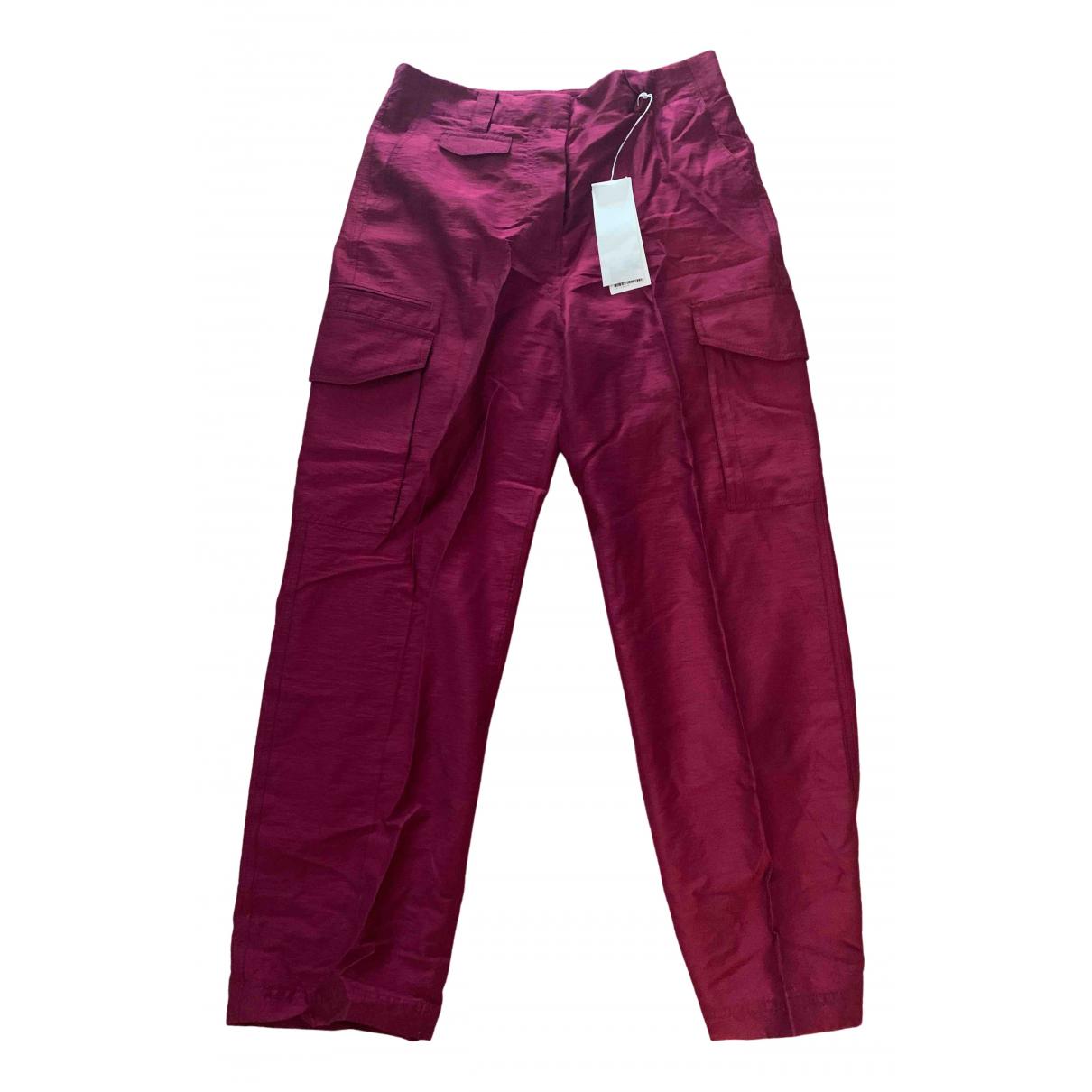 Arket N Burgundy Trousers for Women 14 UK