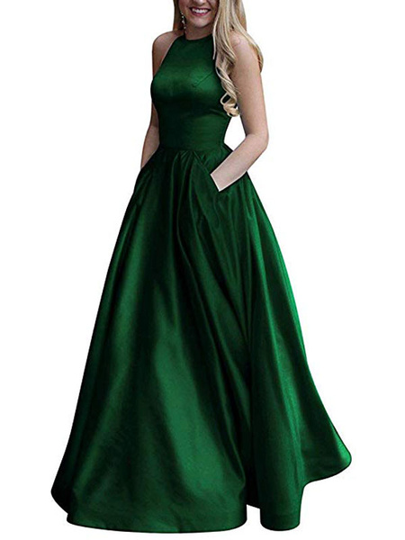 Milanoo Prom Dress Satin Fabric Halter A Line Sleeveless Beaded Floor Length Party Dresses
