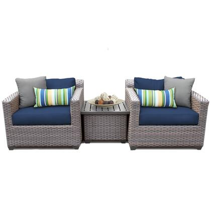 FLORENCE-03a-NAVY Florence 3 Piece Outdoor Wicker Patio Furniture Set 03a with 2 Covers: Grey and