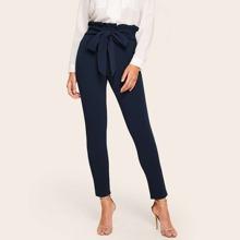 Pantalones ajustados de cintura con volante con cordon