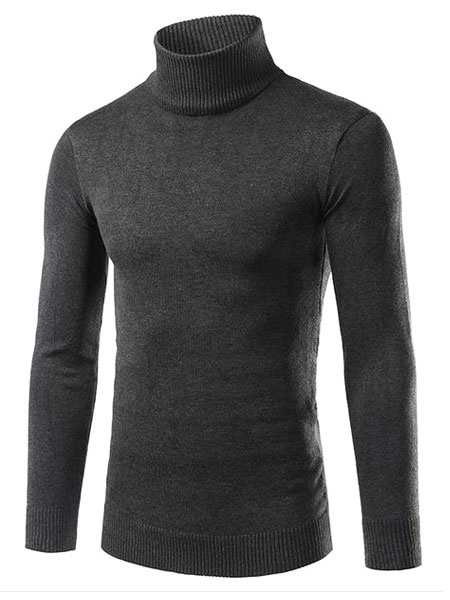 Milanoo Mens Knitted Sweater Light Grey High Collar Long Sleeve Slim Fit Pullover Jumper