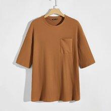 Men Rib-knit Pocket Front Top