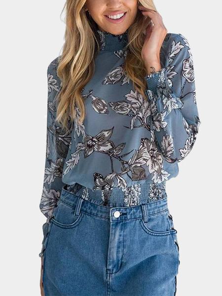 Yoins Blue Random Floral Print Long Sleeves Blouse