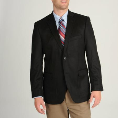 Mens Black Wool and Cashmere Blend Sportcoat