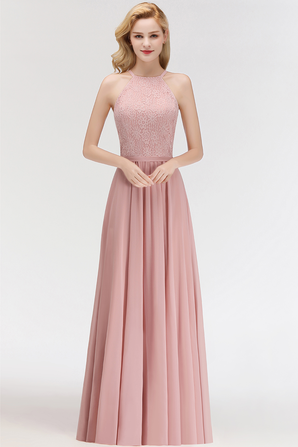 BMbridal Gorgeous High-Neck Halter Lace Affordable Bridesmaid Dress with Ruffle