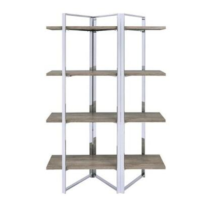 BM196196 Geometric Metal Framed Bookshelf with Four Open Wooden Shelves  Brown and