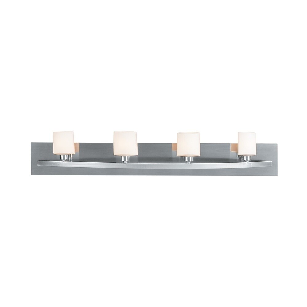 Access Lighting Cosmos 4-light Brushed Steel Wall Vanity (Brushed Steel, Opal)