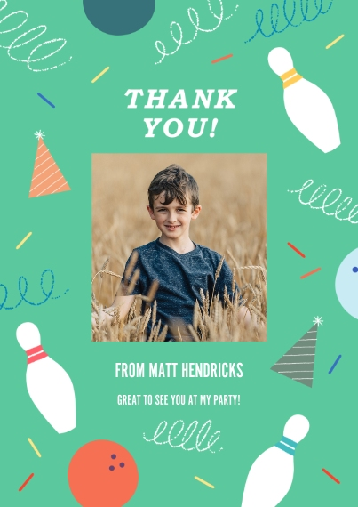 Kids Birthday Thank You Flat Matte Photo Paper Cards with Envelopes, 5x7, Card & Stationery -Strike Up Fun Thank You