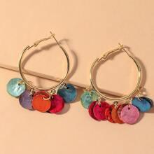 Colorful Disc Charm Hoop Earrings
