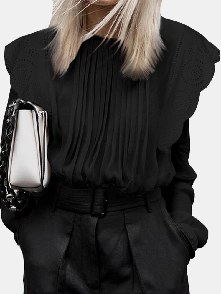 Sheer Lace Shirt Loose Puff Long Sleeve O-neck Pleated Blouse