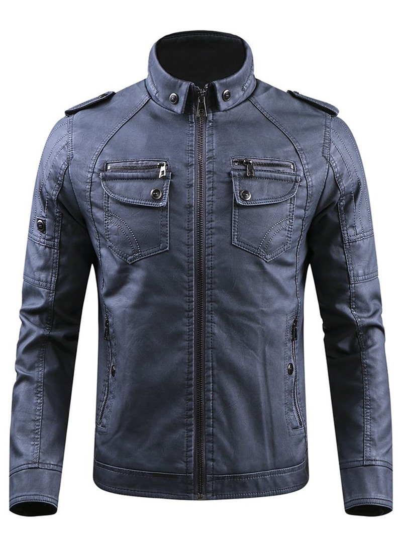 Ericdress Plain Stand Collar Standard European Winter Leather Jacket