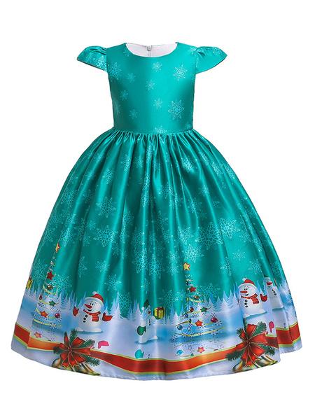 Milanoo Disfraz de niños Halloween Niños Navidad Cosplay Muñeco de nieve Imprimir Vestido azul cian Disfraz Carnaval Disfraz Halloween