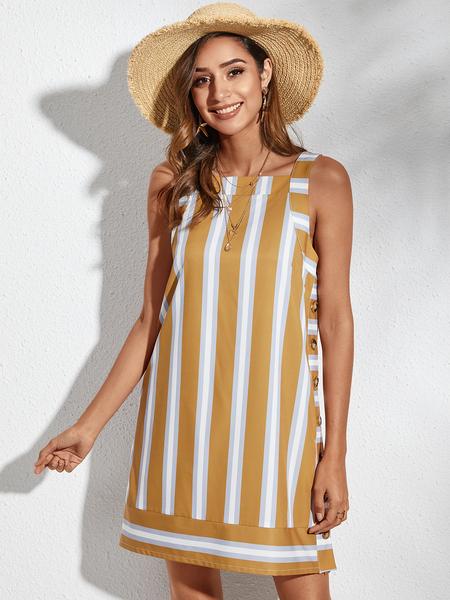 YOINS Yellow Striped Button Design Square Neck Sleeveless Vest Dress