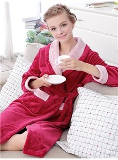 High Class Noble Dark Red Flannel Women's Robe