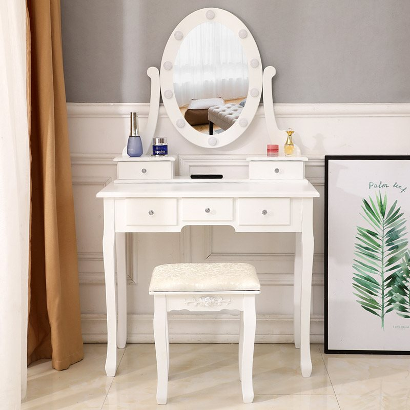 High Quality, High Cost Performance Simple Curved Foot Design Style With A Light Dressing Table, And The Light Is White