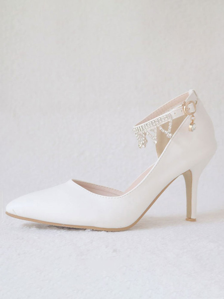 Milanoo Women's High Heel Sandals White PU Leather Pointed Toe Metal Details Evening Shoes Women Party Shoes