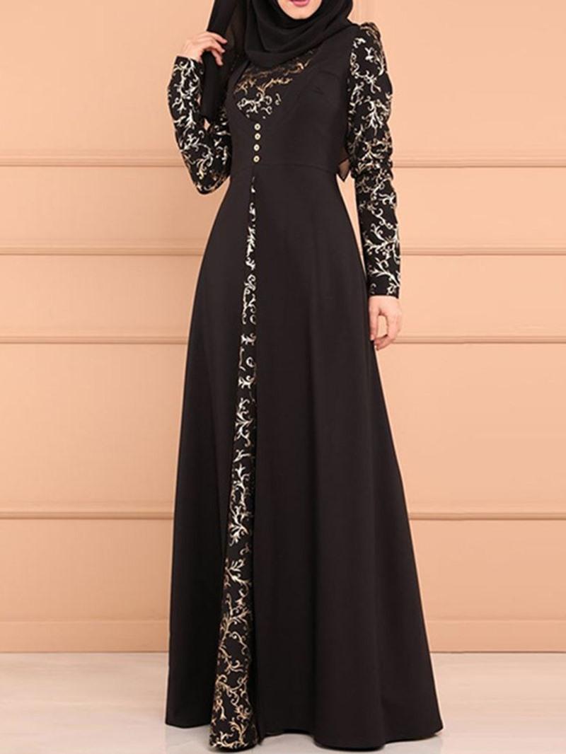 Ericdress Long Sleeve Button Floor-Length Regular A-Line Dress