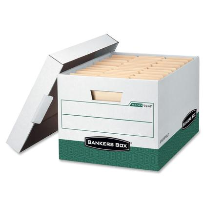 Bankers Box@ R-Kive@ Letter/Legal Size Heavy-Duty Storage Box, 12/Pack (07241) - White/Green
