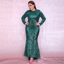 Kleid mit Stufensaum und Pailletten
