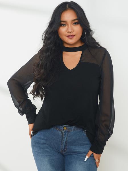YOINS Plus Size Halloween Crew Neck Cut Out Long Sleeves Blouse