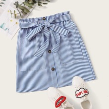 Paperbag Waist Buttoned Front Patch Pocket Striped Skirt