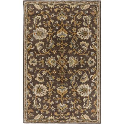 AWMD1002-58 5' x 8' Rug  in Dark Brown and Camel and Ivory and Olive and Teal and