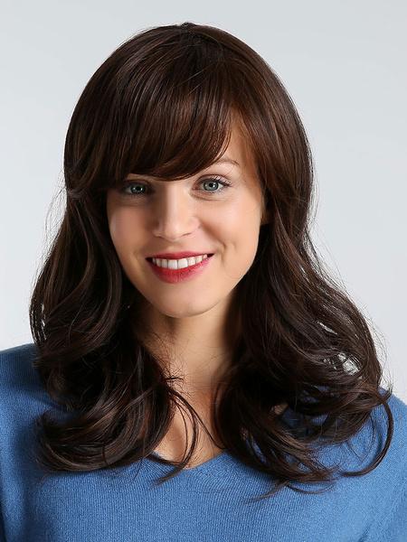 Milanoo Pelucas de cabello de mujer Marron oscuro Tousled Pelucas sinteticas rizadas largas con flequillo lateral