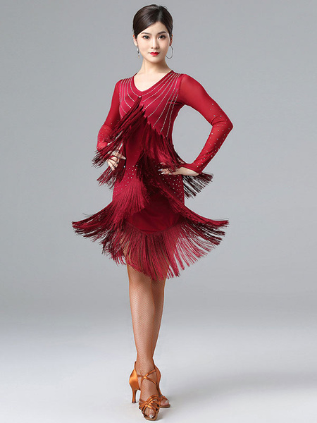 Milanoo Disfraz Halloween Traje de baile latino con cuentas y flecos Vestido de lycra spandex Ropa de baile negra Halloween