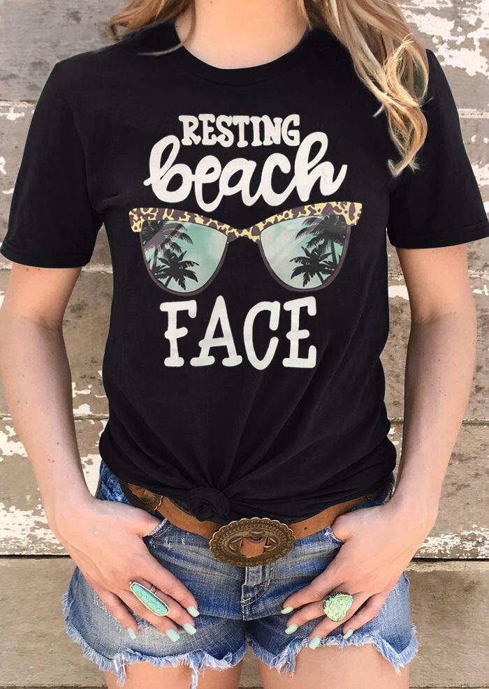 Leopard Printed Resting Beach Face T-Shirt Tee - Black
