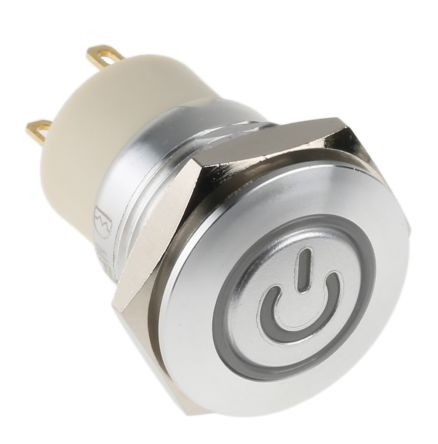 RS PRO Single Pole Single Throw (SPST) Momentary Red LED Push Button Switch, IP67, 16 (Dia.)mm, Panel Mount, Power (20)