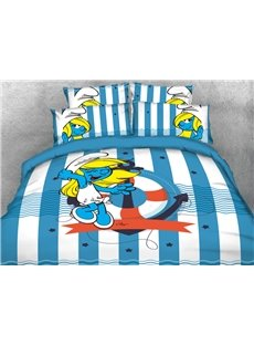 Smurfette with Anchor Striped Nautical Style 4-Piece Bedding Sets/Duvet Covers