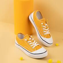 Kleinkind Maedchen Segeltuch Schuhe mit Zehenkappe