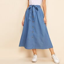 Solid Self Tie Button Front Skirt