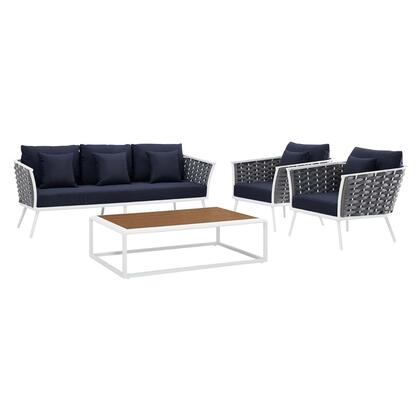 Stance Collection EEI-3167-WHI-NAV-SET 4 PC Outdoor Patio Aluminum Sectional Sofa Set in White Navy