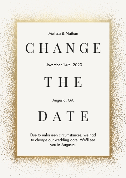 Change the Date 5x7 Cards, Premium Cardstock 120lb with Scalloped Corners, Card & Stationery -Confetti Change