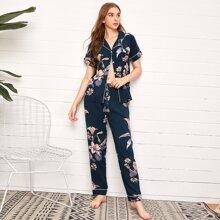Floral Print Contrast Binding Pajama Set