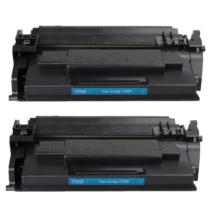Compatible HP 58X CF258X Black Toner Cartridge High Yield - No Chip - Economical Box - 2/Pack