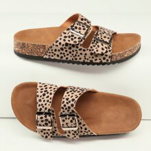 Cheetah Print Twin Buckle Footbed Sandals