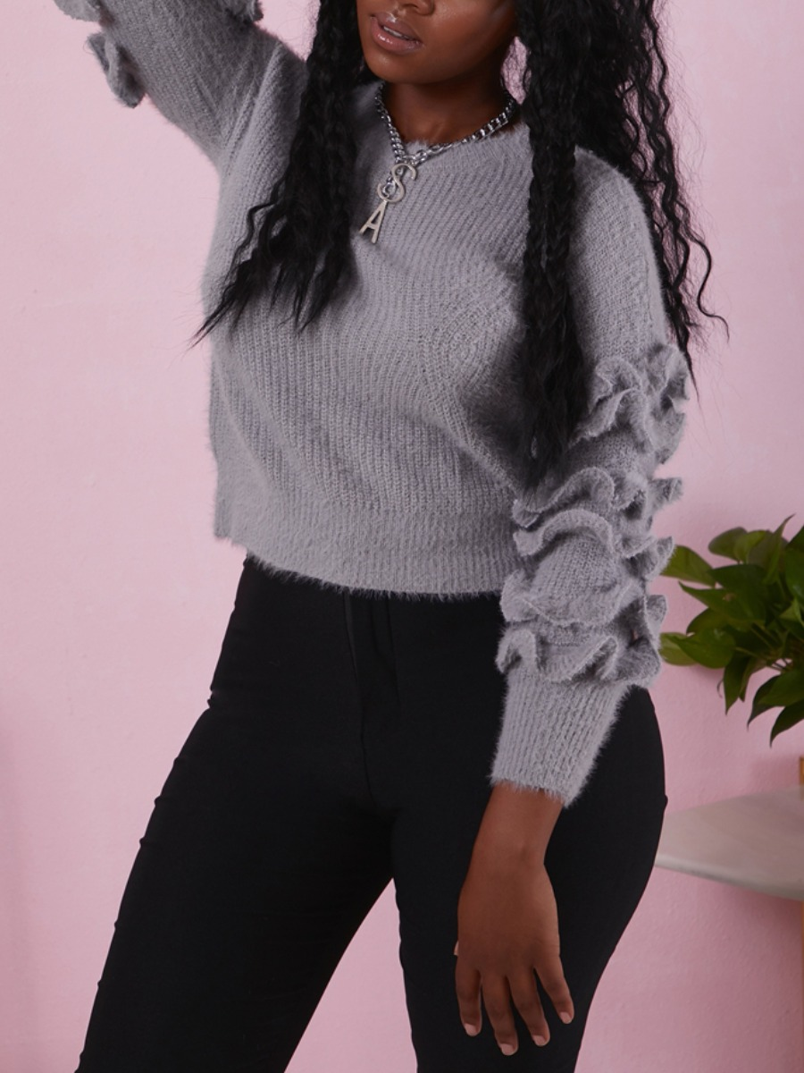 LW lovely Casual O Neck Flounce Design Grey Sweater