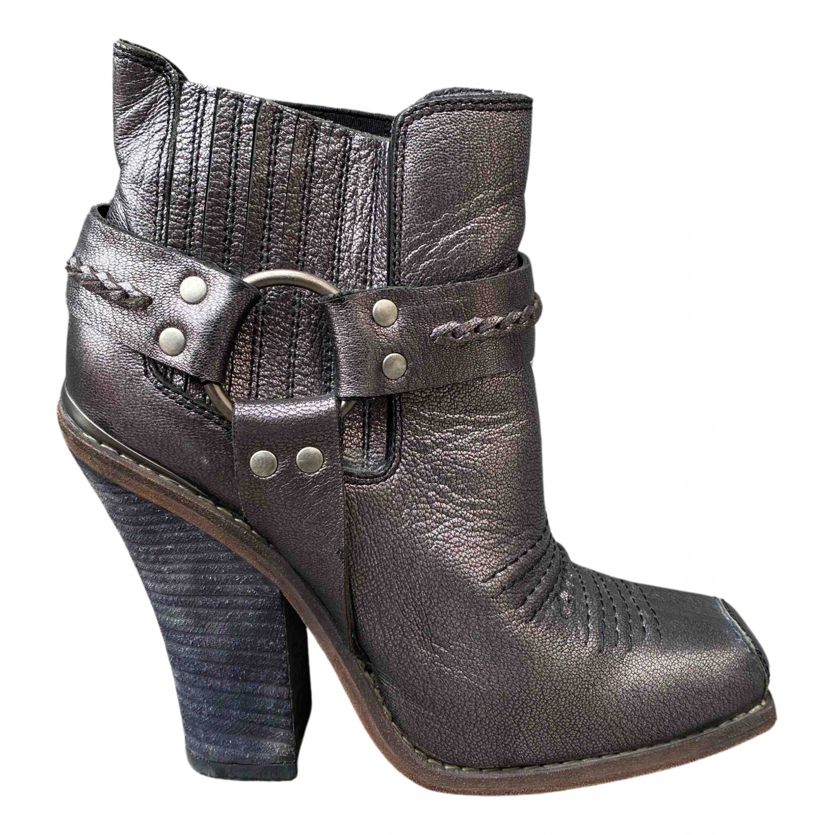 Barbara Bui N Silver Leather Boots for Women 40 EU
