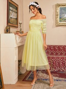 Off Shoulder Guipure Lace Bodice Swiss Dot Mesh Overlay Dress