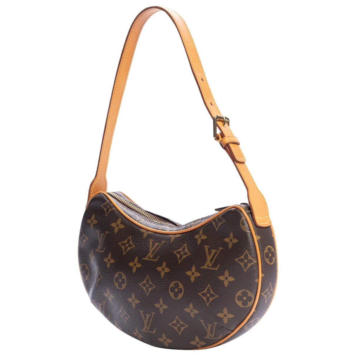 Louis Vuitton Croissant  Handtasche in  Braun Leinen