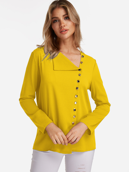 Yoins Yellow V Neck Irregular Fashion Shirt